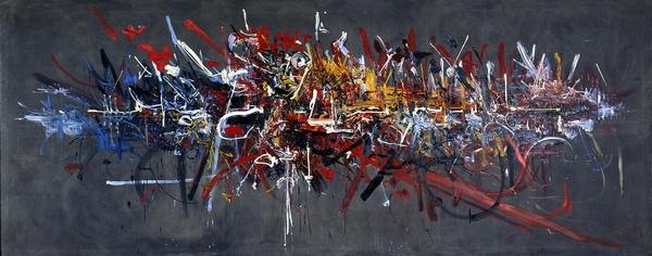 La bataille d'Hastings est une toile peinte par Georges MATHIEU en 1956 en moins de deux heures. Elle est représentative de ce qu'il nomme l'abstraction lyrique, et se voit exposée aux Abattoirs de Toulouse.